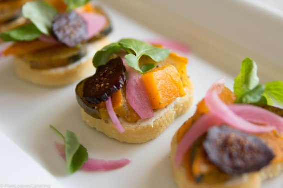 Grilled Crostini with Roasted Seasonal Squash Fall Spiced Local Goat Cheese, Pickled Onion & Candied Fig