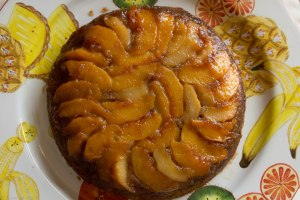 Peach Bourbon Upside Down Cake_Five Loaves Catering