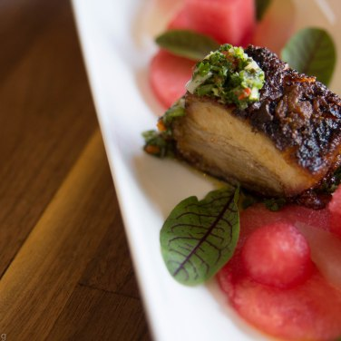Pork Belly Watermelon, Pickled Rind, Chimichurri